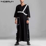 (Muslim) INCERUN Jubah Muslim Pria Kaftan Formal Pesta Abaya Lengan Panjang