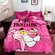 粉紅頑皮豹法蘭絨床包四件組