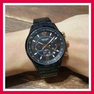 實拍★Creyes鐘錶★ Omax 黑框黑色大錶面三眼腕錶 黑色金屬錶帶 日期指示【手錶 男錶 禮物 配件】