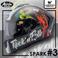 Airoh安全帽 SPARK #3 黑白 亮面 塗鴉風 不對稱 內置墨鏡 內鏡 亞版 雙D扣 台灣公司貨 全罩 耀瑪騎士