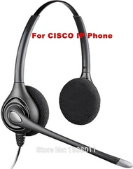 Extra 2 ear pads+Binaural RJ9 plug Headset for Cisco IP Telephone office headset CISCO phone headset