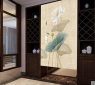 中式中國風荷花門簾廁所擋煞布藝半簾風水簾客廳臥室隔斷簾免打孔