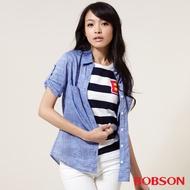 BOBSON  女款七分袖棉麻布襯衫