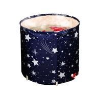 現貨【三層絨布加厚/可收折】免充氣小空間浴桶 直徑70cm 直徑65cm 圓形泡澡盆 泡澡桶 折疊支架收納浴缸