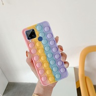 Phone Cases for Realme C12 C15 C25 Realme Narzo 20 Narzo 30A Soft Silicone Phone Case with Funny Rainbow Capa Push It Relieve Stress Pop Fidget Toys Bubble Casing Pop it Cover hp