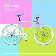 24/26寸倒剎死飛自行車男女款成人學生單車可升實心胎公路車彩色CY 【Pink Q】