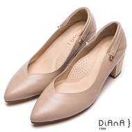 DIANA 3WAY真皮繫帶瑪麗珍粗跟鞋-甜漾迷人-裸粉