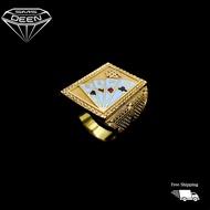 SMS DEEN  Dollar King Biscuit Ring, ±15.9GM - Gold 916 Emas - Cincin Biskut  (Sz: 27 - 15.99GM)