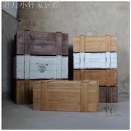 現貨熱銷♞復古懷舊實木加固整理收納木箱裝飾儲物櫥柜陳列有蓋長方小木箱子