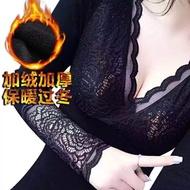 奇斯(保暖發熱)韓國섹시한性感V領蕾絲加絨加厚긴 소매長袖透氣網紗外穿保暖衣