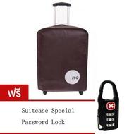 """Tmall ผ้าคลุมกระเป๋าเดินทาง กันรอยขีดข่วน ขนาด 24"""" - สีน้ำตาล (Free gifts Travel suitcase Password Lock)"""