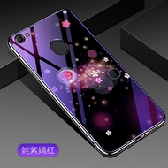 OppoF7 mobile phone shell oppo A9 Silicone Protective sleeve F7 female blue glass rear cover shell s