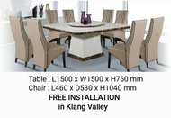 Q 10  - 8 Seater Marble Dining Table Set / 8 Seater Square Marble Dining Set / Marble Dining Table for 8 / Marble Dining Set For 8 Persons / Square Marble Dining Table Set / Set Meja Makan Marble (TMN)