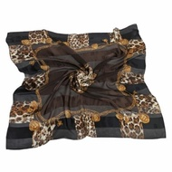 Christian Dior 時尚豹紋項鍊框邊緞面領帕巾(黑)