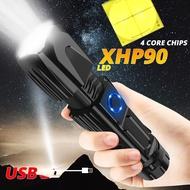 強大的XHP90 LED手電筒XHP50手電筒智能芯片控制使用26650電池進行露營