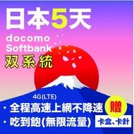 日本docomo+docomo雙系統 日本5天無限制流量吃到飽高速上網吃到飽不降速日本上網卡 日本Sim卡