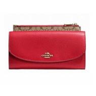 預購【COACH】立體LOGO翻蓋扣式長夾附拉鍊LOGO袋子(紅F52628)