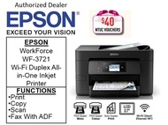 Epson Workforce WF-3721 Wi-Fi Duplex A4 Multi-Function InkJet Printer for Home Office with ADF  Printer ** Free $40 NTUC Voucher Till 2nd Mar 2019 **  WF3721 WF 3721