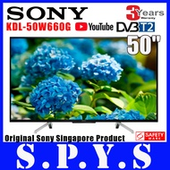 "Sony KDL-50W660G 50"" Smart LED TV. FULL HD 1920 x 1080. **FREE Installation (Table Top)**. YouTube. Netflix. Local Sony Singapore Product. Safety Mark Approved. 3 Years Warranty,"