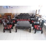 【全國二手家具館】古式精緻深雕黑檀木沙發茶几十件組/原木沙發