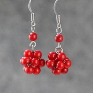 飾品耳環首飾紅珊瑚耳環 球圓型耳飾誇張耳墜