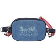 COACH淺藍馬車圖印牛仔布雙背帶迷你斜背腰包
