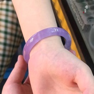 【台灣現貨】紫羅蘭玉髓冰種紫色瑪瑙手鐲女玉年輕款玉鐲子女款少女天然正品