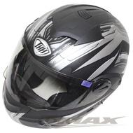 【THH】新一代駭客全罩半罩可掀式雙鏡片安全帽 T797A+-黑銀XL