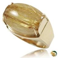 【金玉滿堂】頂級天然滿絲鈦晶9K金戒指(戒圍16)