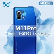 (Support COD) M11 Pro Smartphone 8+256GB 7.3 Inch 6800mah
