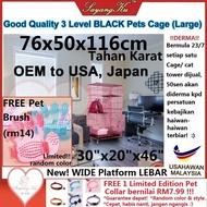 [M'sia] Ready Stock (FREE 7 Gifts) 3 Level BLACK  (Large 76x50x116cm) Pet Cat Dog Cage Crate House Home High Quality With Wheels Rabbit / Rumah HITAM Haiwan Anjing Kucing Arnab Sangkar 3 Tingkat (Besar) 30x20x46 inch