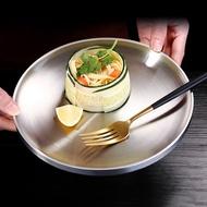 好看網紅304不銹鋼平底圓盤子咖喱飯淺盤創意裝意大利面西瓜零食