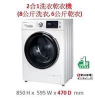 樂聲牌 - 2合1洗衣乾衣機 (8公斤洗衣, 6公斤乾衣)NAS0861F1