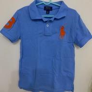 Ralph Lauren 童裝刺繡數字3經典大馬短袖POLO衫-藍色