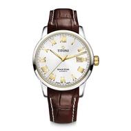 【TITONI 瑞士梅花錶】SPACE STAR 天星系列-銀色錶盤/金色時標/褐色真皮錶帶/40mm(83538 SY-ST-561)