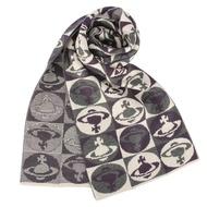 Vivienne Westwood 棋盤格星球羊毛圍巾-紫色