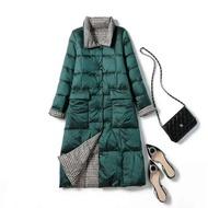 【米蘭精品】羽絨外套白鴨絨夾克(雙面穿格子過膝立領女外套73zc45)