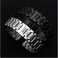 BOSS波士不銹鋼金屬實心鋼帶男女黑色錶帶拋光磨砂鋼錶帶20 22mm