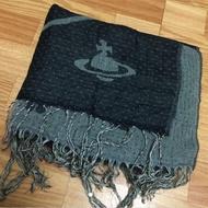 真品 Vivienne Westwood 土星針織質感骷髏頭雙面兩用保暖圍巾 披肩