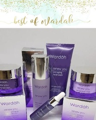 Wardah Paket Renew You 30gr 5 in 1 (1. Renew You Day Cream 30gr 2. Renew You night Cream 30gr 3. Renew You serum 17ml 4. Renew you facial wash 100ml. 5. Renew you treatment essence,)