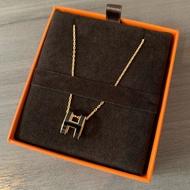 Hermes項鏈 愛馬仕 pop H 橢圓  黑金  白金  粉銀 琺瑯 軟鏈 現貨