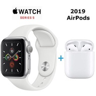 【Airpods 超值組】Apple Watch Series 5 GPS 版 44mm 銀色鋁金屬錶殼配白色運動錶帶 (MWVD2TA/A)+ AirPods 無線耳機(2019新版) Apple Watch 5