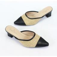 """1779-2 คัชชูเปิดส้นสูง 2 """"  รองเท้าคัชชูหัวแหลมเปิดส้นผ้ากระสอบ  ส้นสูง/ส้นใหญ่ แฟชั่น FAIRYรองเท้าคัดชู รองเท้าคัทชู หนัง หญิง ส้นกลมสูง องเท้าดำ รองเท้าชุมชน รองเท้าพยาบาล รองเท้าส้นเตี้ยหัวตัด แบบเปิดส้น รองเท้า คัชชูเจลลี่ รองเท้าผู้หญิง สวย นุ่มสบายเ"""