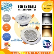 led downlight。lampu hiasan。 LED EYEBALL 3W /7W LED EYE BALL CEILING LIGHT DOWNLIGHT
