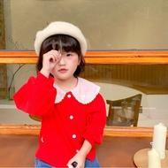 🎁Dora童裝 秋季新款女童娃娃領花邊純棉外套