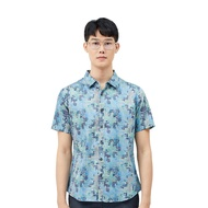 DAPPER - Blue Casual Shirt Cactus Houndstooth Motif