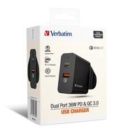Verbatim - Dual Port 36W PD & QC 3.0 USB充電器 66390 (香港行貨)