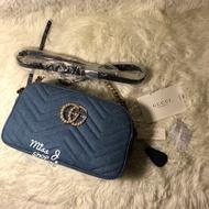 預購 GUCCI GGマーモント 日本限定的牛仔包 珍珠 GG包(5800元)