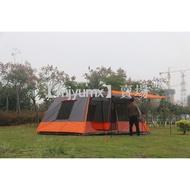 自動桿 大帳篷 露營 2房1廳 自動帳 快速搭建 全包覆外帳 自動桿帳篷 460x300cm 一人快速搭建 快速帳