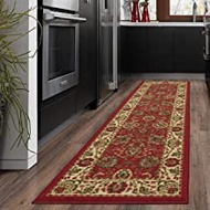 """OTTOMANSON Ottohome Collection Style Oriental Area/Runner Rug Skid (Non-Slip) Rubber Backing, 20"""" L x 59"""" W, 20"""" X 59"""", Red Persian"""